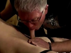 Old pervert drains a enslaved twinks dick