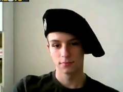 Military twink jerks his willie on webcam