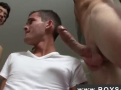 Cute twink sucking cocks in a gangbang