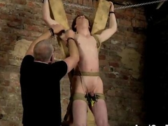 nasty perv gets to suck off tied up twink