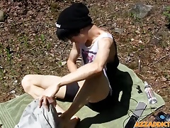 Outdoor masturbation with anal beads for a cute Asian twink