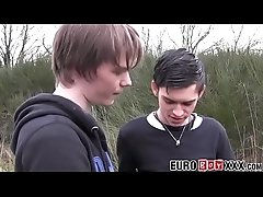 Euro twink blown outdoor and threesome barebacked indoors