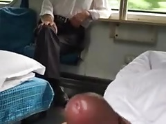 jerking in front of old man in train in Asia (25'')
