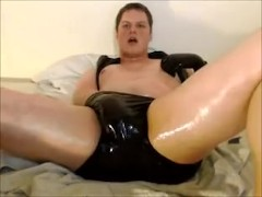 Cute and Kinky Shiny Latex Masturbation