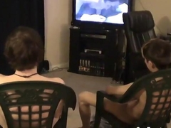 wanking hard on the dick with his twink friend