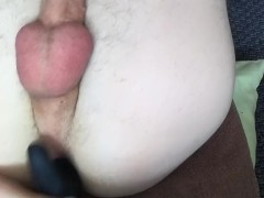 Homemade skinny twink anal penetration with vibrator till he cums all over