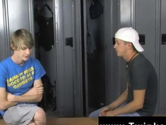twinks are in the locker room sucking on the dick