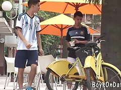 Cycling boyfriends get dirty in a shower
